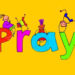 Pray and kids clipart